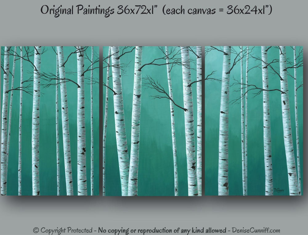 Original birch tree paintings canvas wall art large teal for Etsy dining room wall art