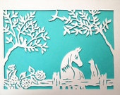Rustic Country Western Paper Cut Horse and Cat Friends Wall Art