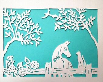 Rustic Roses, Rail Fence, Horse and Cat Papercut Wall Art