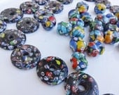 Huge Chunky Glass Beads Millefiori look Lot of 46 pieces 2 Shapes