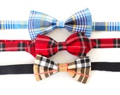 3 colors to choose from, Pre tied Bow Tie for wedding and everyday! Plaid collection
