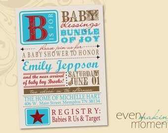 Baby Shower Invitation -- digital, custom, printable -- Baby Boy-- Baby Shower Invite