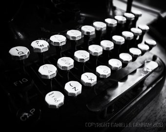 Vintage Typewriter Photo Black and White--Fine Art Photography 8x12