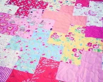 Plus pattern large cot quilt / throw. Pam Kitty, Jennifer Paganelli, Lecien, Sarah Jane, Michael Miller
