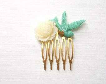 SAMPLE SALE Flower and Bird Hair Comb with Heart Detail Gold Toned Aqua Teal Green Ivory Off White Tiny Natural Vintage Style Woodland