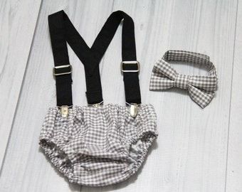 Gray Gingham Diaper cover, Bow Tie and Suspenders set. Vintage Inspired. baby Boy Photo prop cake smash, wedding