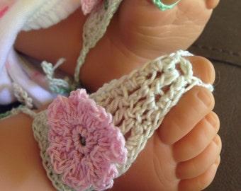 Sandals, Baby Green Crochet Barefoot Sandals