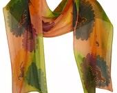 colorful silk-chiffon scarf with horse motifs