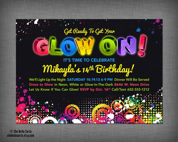 glow neon black light party customized printable invitation, party invitations