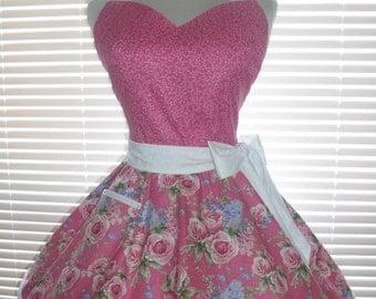 Retro Pinup Style Apron Flirty Circular Skirt Bright Pink Roses
