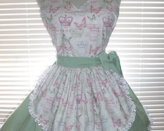 French Maid Apron Paris Garden Paired with Sage Green Pin-up Retro Style Flirty Skirt Sweetheart Neckline