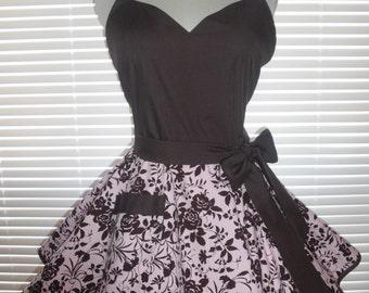 Sweetheart Retro Apron Pink and Chocolate Brown Print Circular Flirty Skirt