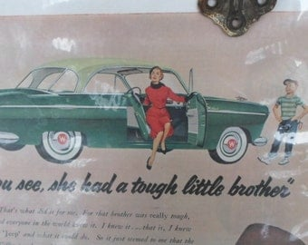 Vintage Advertising, Mad Men, Car Ad, Magazine Ad, 1950s, Aero Willys, Authentic Advertising, Man Cave, Props, Ephemera, All Vintage Man