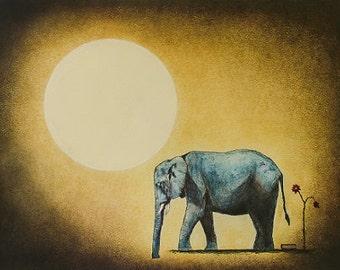 """Art print // Elephant - moon - book // """"The farewell"""""""