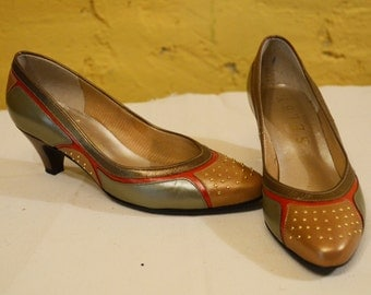 80s Colorblock Egyptian Studded Punk Pumps Heels 6.5