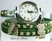 Wrap Watch - OWL WATCH  - wrist watch bracelet-  genuine leather wrap watch,Owl family, with owl charm-Black friday-Cyber monday.