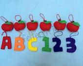 1 Dozen Handmade Felt Mini Back to School Teacher Ornaments