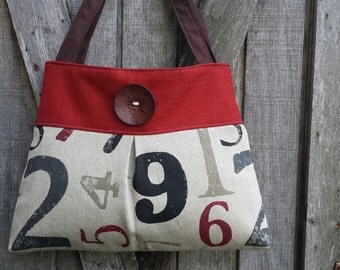 Red and Charcoal Handbag Purse Tote Bag in Numbers