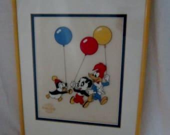 Woody Woodpecker Fine Art Serigraph Cel Walter Lantz Studio 1991 Original Limited Edition Fine Art  Chilly Willly Andy Panda Yellow Frame