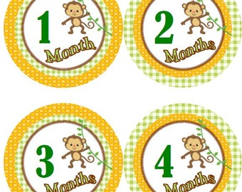 Baby Monthly Milestone Growth Stickers Yellow and Brown Monkeys Nursery Theme MS565 Baby Shower Gift Baby Photo Prop