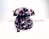 Jewelry Drawstring Pouch / Travel Jewelry Organizer/ Cosmetic Bag / Black and White Design with Soft Pink Inside