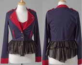 Womens clothing upcycled navy red military crop blazer with ruffle S