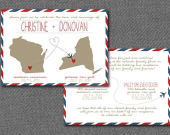 DIY printable travel themed wedding invitation