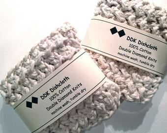 Dishcloths or Washcloths, set of 2 100% cotton 'Natural' crochet