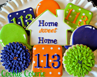 Housewarming New Home Decorated Cookie Favors One Dozen