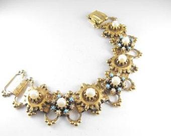 Vintage Bracelet Renaissance Revival Style Intricate Beaded Stamped Brass Bookchain Design