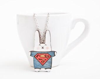 Bunny Necklace, Super Hero Pendant, Rabbit Necklace, Blue Red Kids Necklace, Superman Necklace, Bunny Pendant, Girlfriend Gift