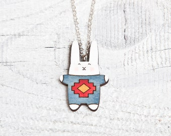 Bunny Necklace, Tribal Pendant, Native Blue Necklace, Animal necklace, Kids jewelry, Gift for girl friend, Mom Gift, Bunny jewelry