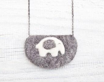 Needle Felted Necklace, Elephant Necklace, Felted jewelry, gray