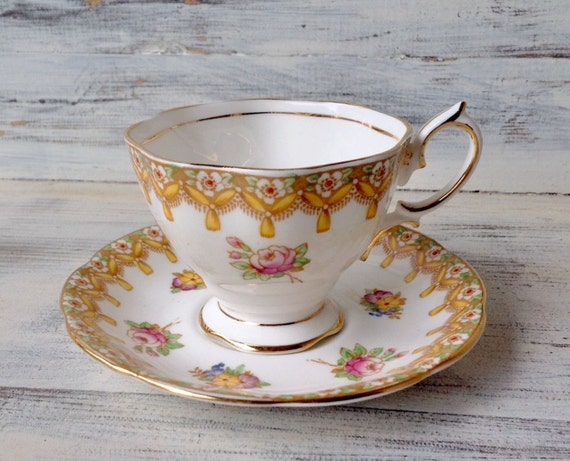 Antique Royal Albert Torquay Hand Painted Teacup and Saucer