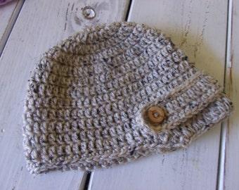 Crochet Baby Girl or Boy Light Grey Newsboy hat- Visor Beanie- Oatmeal- MADE TO ORDER