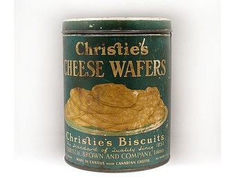 Vintage Christie's Biscuit Tin - Bakery Advertising Tin - Christie's Bakery Cheese Wafers - Retail Display Prop - Canadian Bakery Toronto