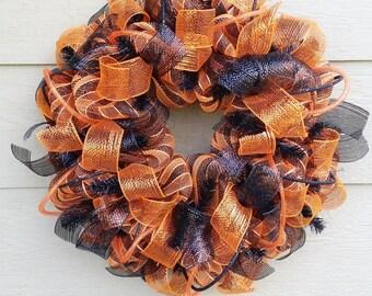 Black and Orange Mesh Wreath - Quick Ship!