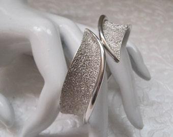 Vintage Jewelry, Bracelet, Marked TRIFARI, Silver Clamper Bracelet, Cuff Bracelet, Classic, Timeless