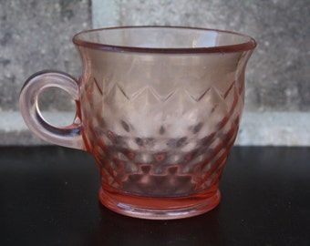 Rose Glass Drinking Cup with Handle, Pink Glass Cup, Vintage