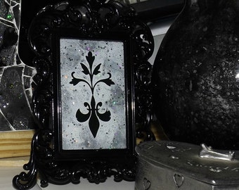 Antiqued Damask Hand Painted Framed Glass Art