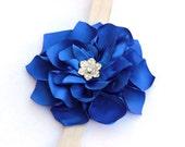 Dahlia royal blue girl headband - blue satin flower, rhinestone, silver fold over elastic - infant, toddler, girl