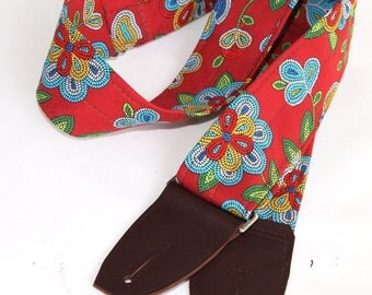 Guitar Strap - Beaded Red Flower Print with Chocolate Leather