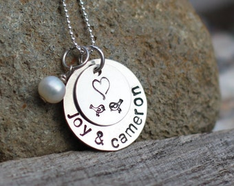Hand Stamped Sterling Silver Love Birds Necklace