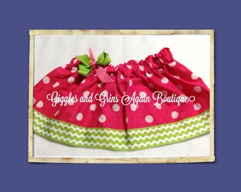 Ready to Ship - Hot Pink and White Polka Dot Twirl Skirt with Green Chevron Trim and accenting Bow at Waist - 4T