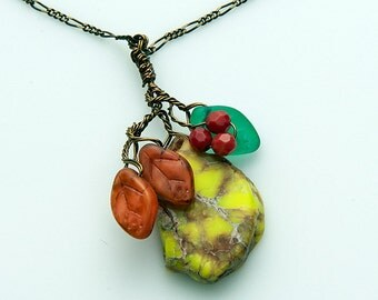 Yellow Orange Red Gemstone Pendant Necklace, Fall Colors Necklace, Beaded Necklace,  Nature Jewelry