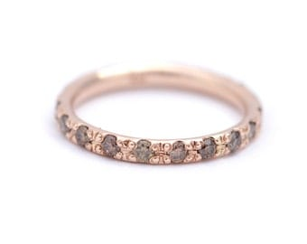 Eternity Ring with Champagne Diamonds - 18K Solid Gold
