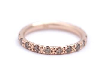 Rose Gold Eternity Band, Champagne Diamond Eternity Band, Diamond Eternity Ring, Diamond Wedding Band, Rose Wedding Band, Brown Diamond Ring