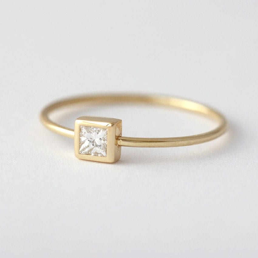 Princess Diamond Ring Simple Engagement Ring Square