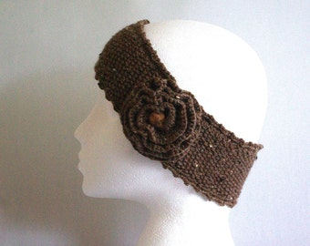 knitted headband, knitted head wrap, knitted ear warmer, headband with flower, knitted headband, Winter fashion, ready to ship, UK seller