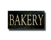 Rustic Bakery Sign, Typography Canvas Wrap, Wall Art, Kitchen Decor, Black & Brown, 10x20""